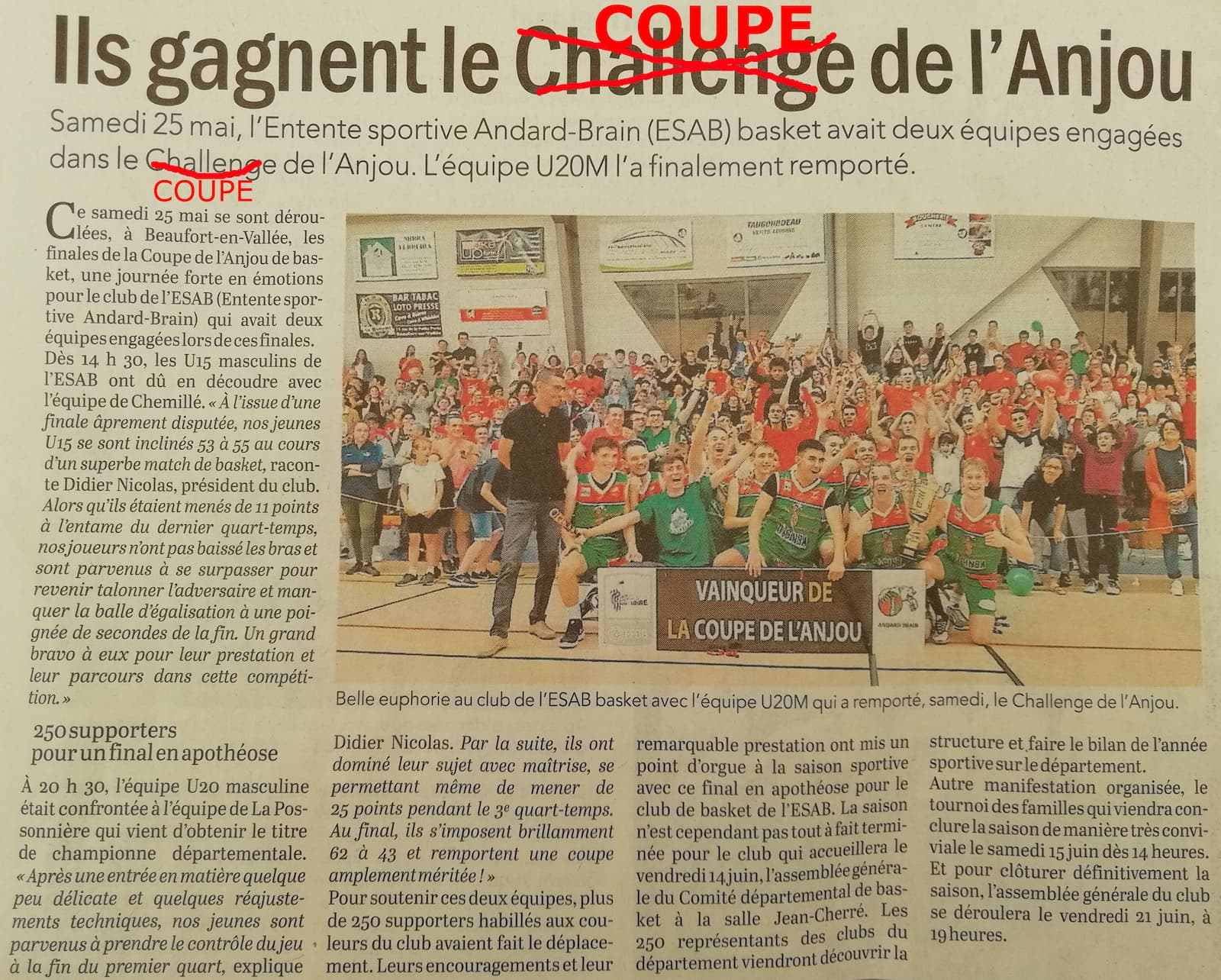 Article du courrier de l'Ouest : Coupe de l'Anjou - U20 - 2019